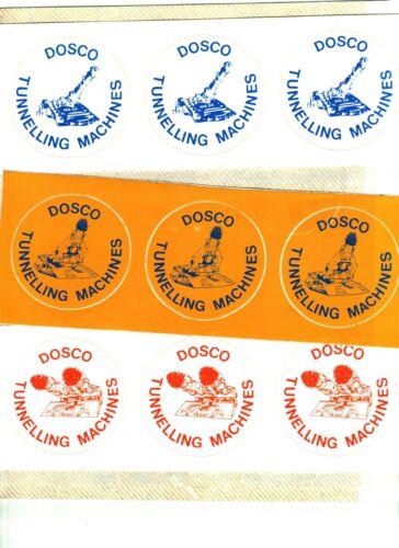 LOT OF 3 NICE UNCUT  SHEETS OF 3 DOSCO EQUIPMENT COAL MINING STICKERS # 458