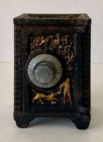 Antique/vintage Cast Iron Safe Coin Deposit Bank Combination Lock Black 1900