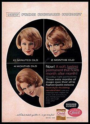 1963 Richard Hudnut Fashion Quick Hair Permanent Vintage Photo PRINT AD 1960s