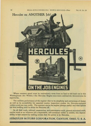 1926 Hercules Motor of Canton OH Ad: Pictured Mounted to Westinghouse Arc Welder