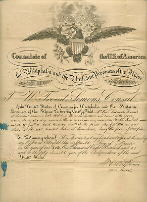 1833 DOCUMENT OF U S CONSULATE FOR WESTPHALIA & PRUSSIAN PROVINCES OF THE RHINE