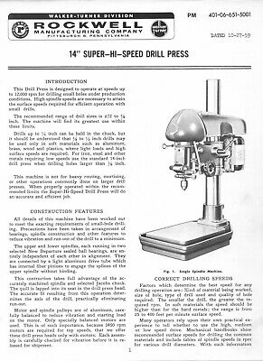Walker Turner 14 Super-hi-speed Drill Press Operator Maint Parts Manual