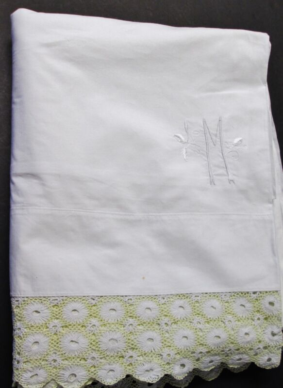 Antique Queen Sheet M O Monogram Ornate & Unusual Hand Crocheted Trim