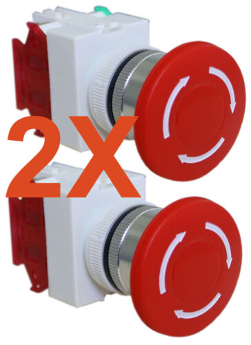NEW LOT OF TWO (2) Emergency Stop Switch Push Button Mushroom