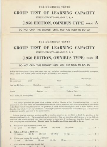 1950 Canada ~ The Dominion Tests ~ Group Test of Learning Capacity (A & B) 7,8,9