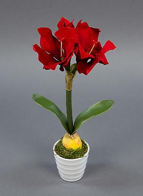 Amaryllis-Pflanze 32cm rot im weißen Dekotopf NT künstliche Pflanze Kunstblumen