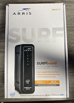ARRIS SBG10 SURFboard AC1600 Dual-Band Cable Modem  Router - Black SEALED NEW