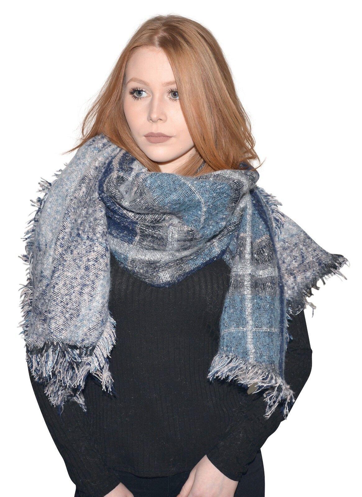 Neu Damen Schal Großer Winter Schal in Grau Türkis - Edel und kuschlig XXL Scarf