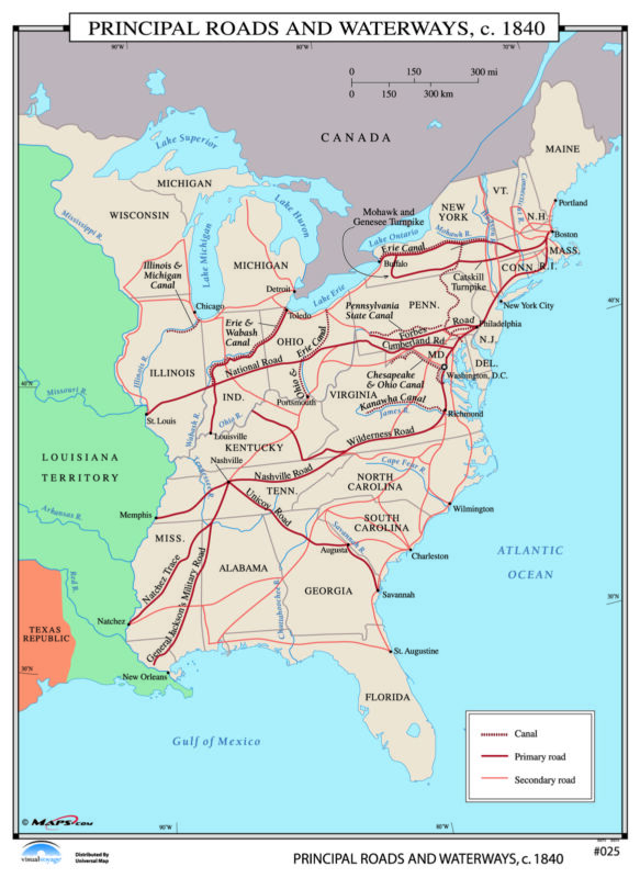 025 Principal Roads & Waterways, 1840
