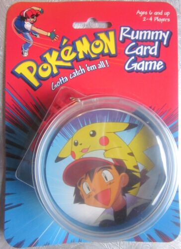 POKEMON RUMMY CARD GAME in Zippered Keychain Pouch (Hasbro,1999) NEW in package