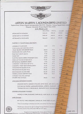 Aston Martin V8 copy Price List - dated June 1979 - mint