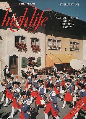 BRITISH AIRWAYS HIGHLIFE INFLIGHT MAGAZINE FEBRUARY 1991 BA HIGHCLERE CASTLE