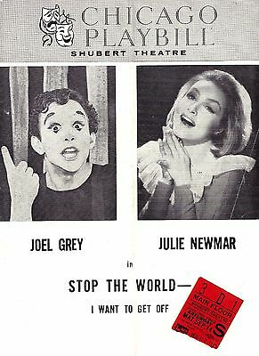 """Joel Grey """"STOP THE WORLD"""" Julie Newmar / Anthony Newley 1963 Chicago Playbill"""