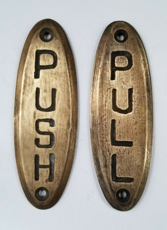 """PUSH sign and PULL sign Door sign Bell Store Art Deco Solid Brass 4"""" #F10"""