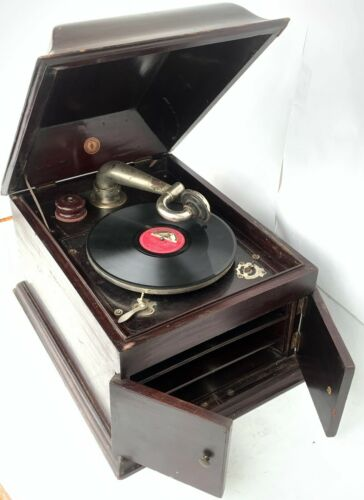 Collectible Old Grand Table Phonograph Swiss Made Original Antique Gramophone.