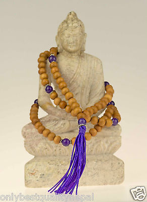 Necklace Amethyst Mala Necklace (Sandalwood Duplicate) Nepal Rosario 7d