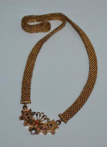 Antique Victorian Gold-Filled Mesh Necklace Enamel Crescent Pendant Salmon Coral