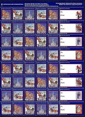 2000 USA Christmas Seals Snow Scenes (2000-1) Sheet of 48 simulated perfs - MNH