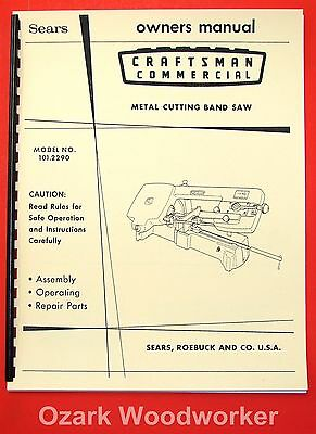 Craftsman 101.2290 Metal Cutting Band Saw Instructions Parts Manual 1073