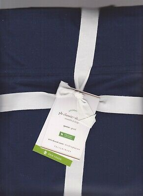 pottery barn pb classic sheet set queen navy 400 thread count organic percale Organic 400 Thread