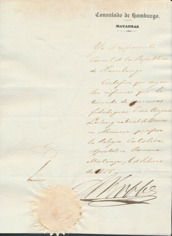 1855 Cuba ~ Letter signed by German Consul of Hamburg in Cuban Matanzas ~ seal