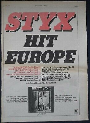 Vintage STYX Press Advert / Poster announcing European Tour Dates 1978