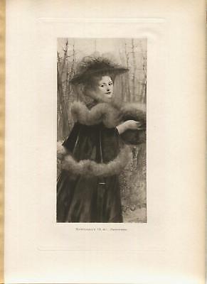 ANTIQUE GORGEOUS PARISIANNE WOMAN FUR CAPE STOLE HAT VEIL BARE TREES WOODS PRINT