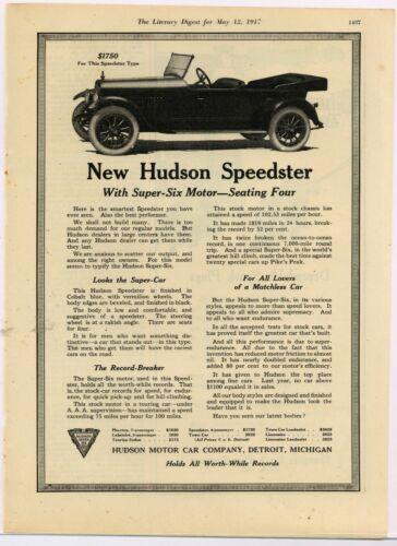 1917 Hudson Motor Car Co. Ad: Hudson Speedster w/ Super Six Motor Pictured