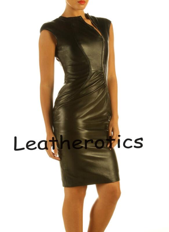 lavish weiches schwarzes leder kleid mit rei verschluss. Black Bedroom Furniture Sets. Home Design Ideas