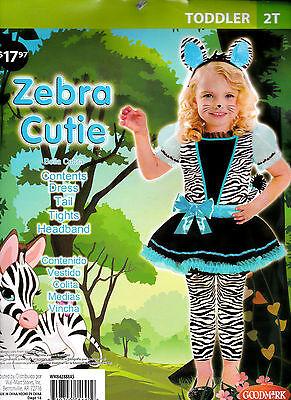 Girl's Zebra Cutie Halloween Costume -Toddler 2T - 26 to 30 Lbs - New - Complete (Zebra Toddler Costume)