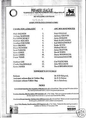CHARLTON ATHLETIC RESERVES V BOURNEMOUTH  COMBINATION LEAGUE    18/11/98