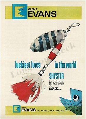 1970 Glen L. EVANS Fishing Lures - Shyster Vintage Ad