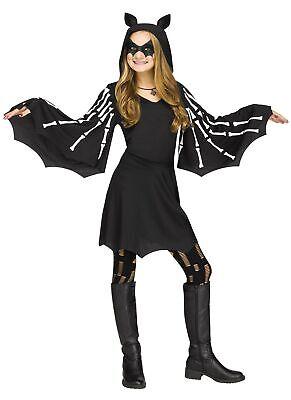 Girls Sweet Skeleton Bat Wings Costume Hooded Black Dress Halloween Child SM-LG](Bat Costume For Girls)