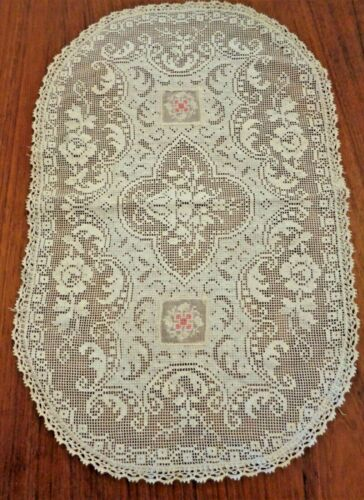 ANTIQUE FRENCH LACE CENTERPIECE DOILY W EMBROIDERED INSERTS