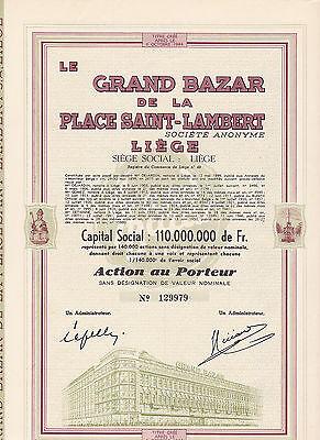 La Grand Bazar de la Place Saint-Lambert-Aktie v.1944-Liege-Belgien-Kaufhaus