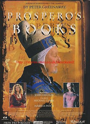 Prospero's Books Isabelle Pasco 1991 Magazine Advert #7687