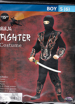 Ninja Fighter Halloween Costume - Boys Small 6 With Tunic Hood Pants Armor - New