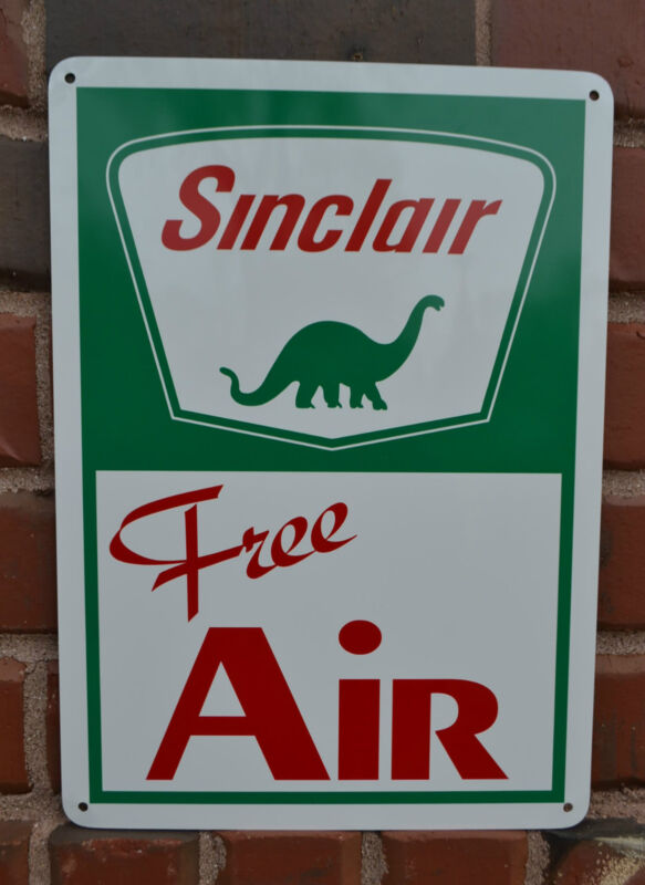 Sinclair Free Air Pump Sign Gas Service Dino Garage Mechanic Shop Advertising 10