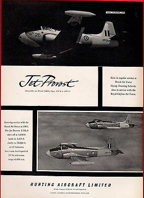 Old Magazine Advert ~ RAF: Jet Provost T.Mk.4 - Hunting Aircraft Limited : 1960