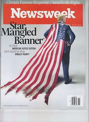 DONALD TRUMP NEWSWEEK MAGAZINE MARCH 16 2018 NO LABEL STAR MANGLED BANNER