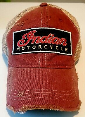 Indian Motorcycle Vintage Distressed patch hat - Patch on new trucker style hat