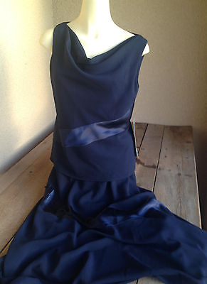 Coldwater Creek Navy Blue 2 Pc Dress 10 Tank Top Swirl Skirt Satin Chiffon Fancy