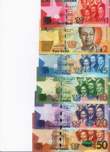 GHANA Banknotes Set, 6 UNC 1, 2, 5, 10, 20,50 CEDIS, 2015 Series P NEW all UNC