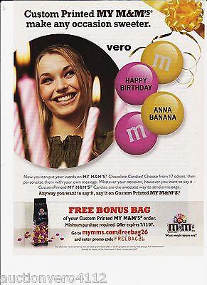 2007 magazine ad M&M's PERSONALIZED mms M&M PINK YELLOW advertisement print - Personalized M&m
