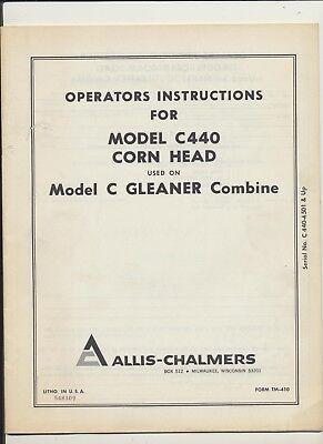 Operator Instructions Allis-chalmers Model C440 Corn Head Used C Gleaner Combine