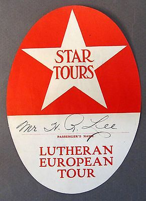 Luggage Label Liner (1920's STAR TOURS LUTHERAN EUROPEAN TOUR ocean liner Luggage travel label)
