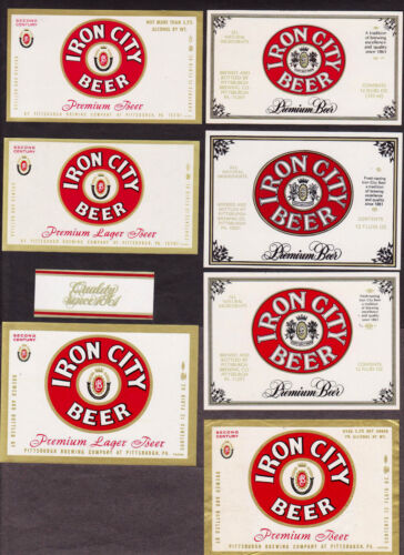7 Diff. Iron City Premium & Lager Beer Labels PLUS One Neck Label Pittsburgh PA
