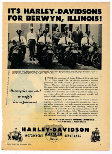 1948 Harley Davidson Police Motorcycles Ad: Berwyn, Illinois Officers Pictured