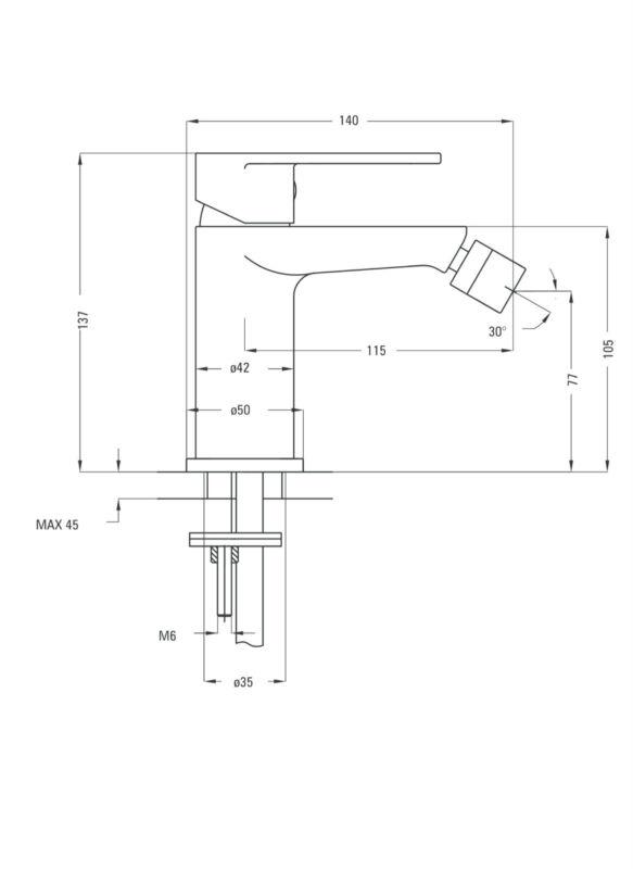 Wasserhahn Bidet  Mischbatterie Bad Armatur  bga31