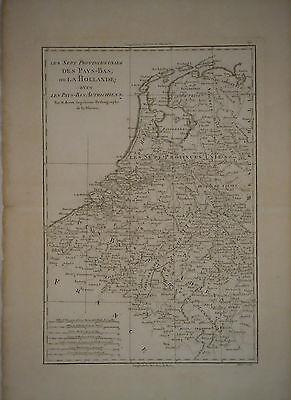 c1780 Genuine Antique map Holland, Pays Bas, Netherlands, Zuider Zee. Bonne
